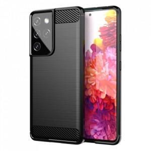 Силиконов гръб Carbon - Samsung Galaxy S21 Ultra черен