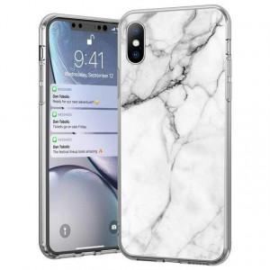 Силиконов гръб WOZINSKY Marble - Xiaomi Mi Note 10 Lite бял