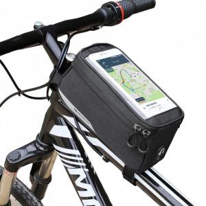 """Чанта за велосипед WOZINSKY с калъф за телефон 6.5"""" и за бутилка 1 л черна (WBB6BK)"""