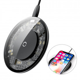BASEUS Simple Stylish Wireless Charger Qi Inductive Pad 2A 1.67A 10W with USB / Lightning кабел 1.2M прозрачен (CCALL-AJK01)