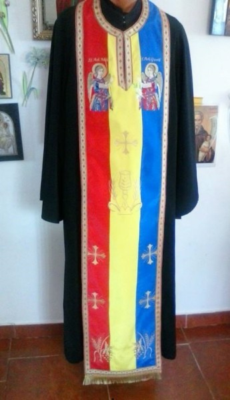 Poze Epitrahil tricolor cu zece broderii