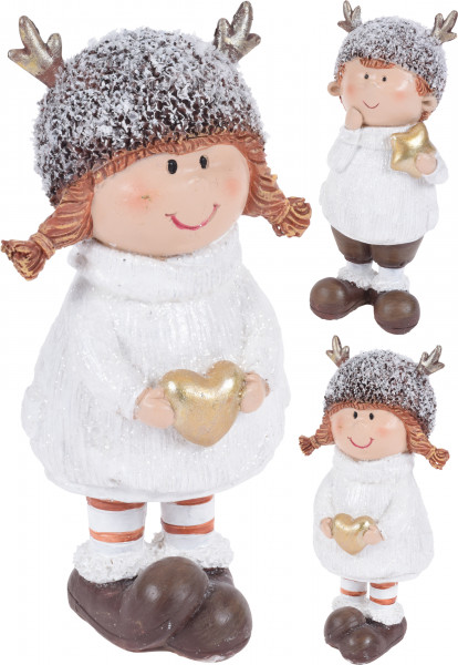 Figurina copil cu caciula tip cerb, 17 cm