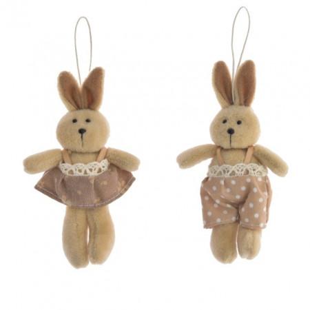Figurina textila, iepuras cu agatatoare, maro, 13 cm