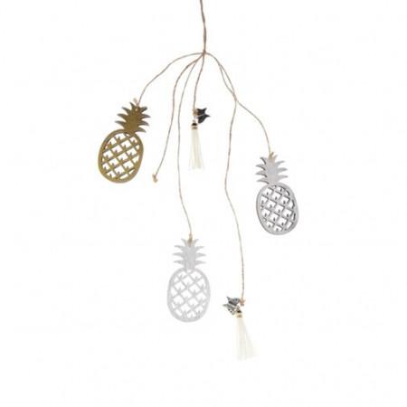 Ornament din lemn, ananas, cu agatatoare, 50 cm