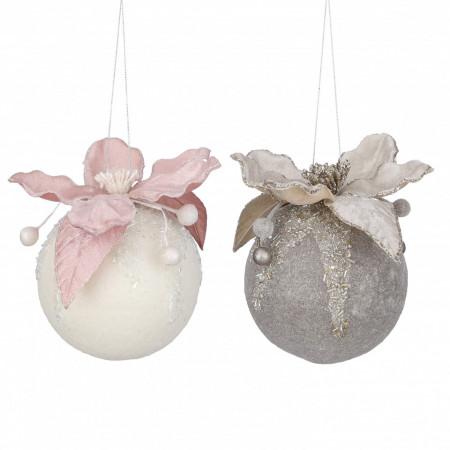 Ornament textil, glob, roz/crem, 13x11x9 cm