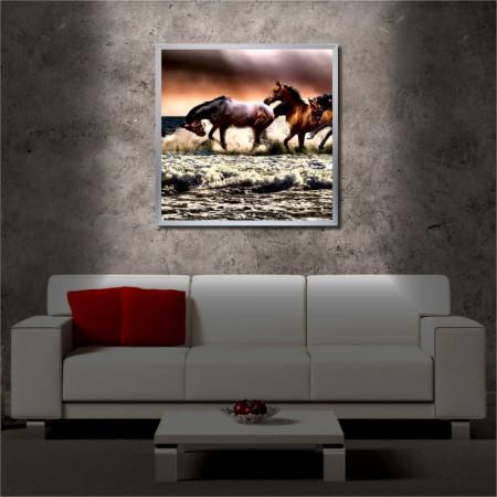 Tablou iluminat LED cu rama metalica Happy Horses (60 x 60 cm)