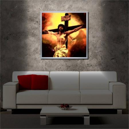 Tablou iluminat LED cu rama metalica Jesus on the Cross (60 x 60 cm)