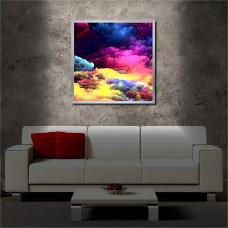 Tablou iluminat LED cu rama metalica Rainbow Clouds (60 x 60 cm)