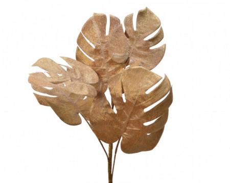 Buchet artificial, Monstera, auriu, 72 cm