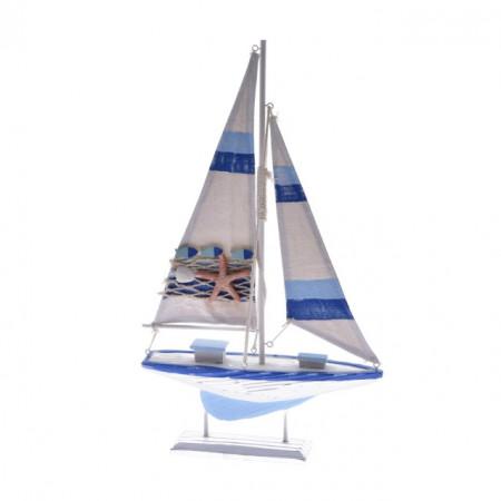 Decoratiune barca lemn, 42 cm