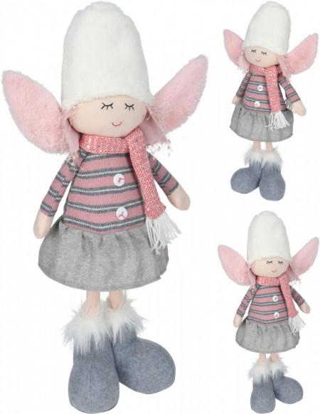 Figurina textila, ingeras in picioare, roz/gri, 59 cm