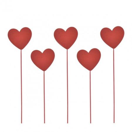 Ornament pe bat, lemn, inima, 25cm