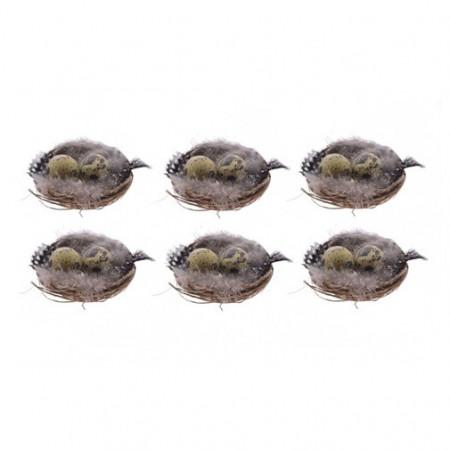 Set 6 cuiburi oua, cu pene, 6 cm
