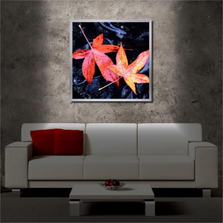 Tablou iluminat LED cu rama metalica Autumn Leaves (60 x 60 cm)