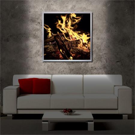 Tablou iluminat LED cu rama metalica Flames (60 x 60 cm)