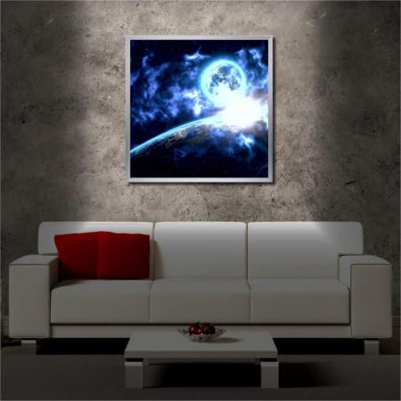 Tablou iluminat LED cu rama metalica Magic Universe (60 x 60 cm)