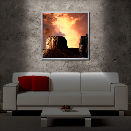 Tablou iluminat LED cu rama metalica Sun hidden in the Clouds (60 x 60 cm)