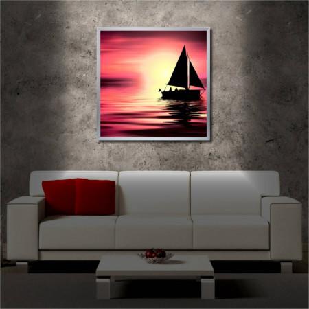 Tablou iluminat LED cu rama metalica Sunset and the Boat (60 x 60 cm)