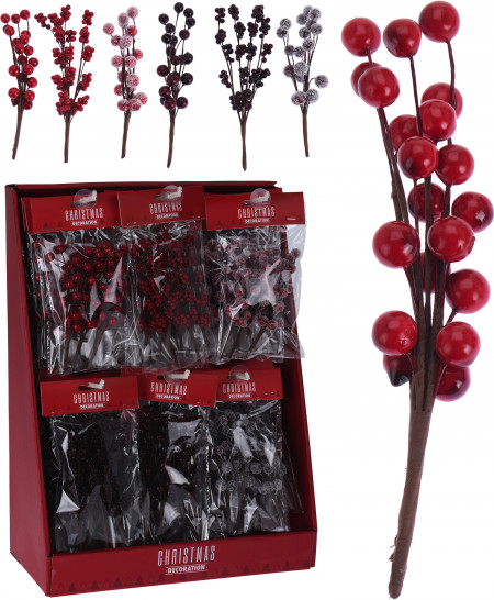 Decoratiune, fructe de padure, 15 cm
