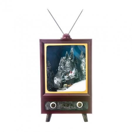 Decoratiune televizor cu scena de Craciun, 26x25x42 cm