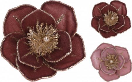 Floare artificiala cu clips, roz/bordo, 14 cm