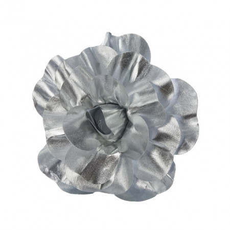Floare artificiala, trandafir textil argintiu, 30 cm