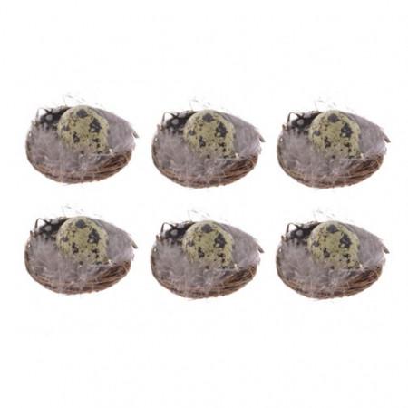 Set 6 cuiburi oua, cu pene, 5 cm