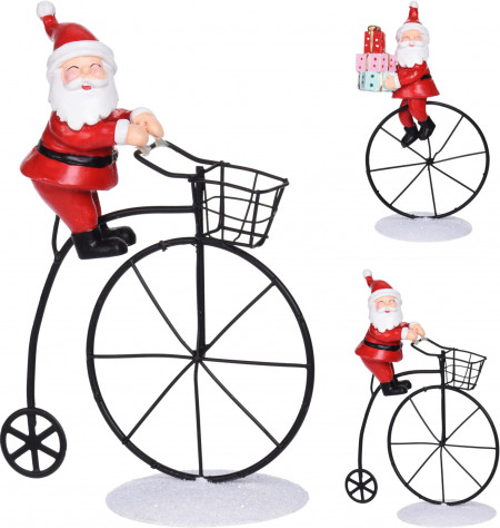 Decoratiune Santa, pe bicicleta