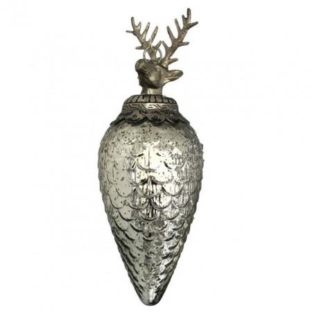 Decoratiune sticla de agatat, cu varf metalic ren, argintiu, 44 cm