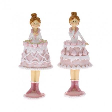 Figurina polirasina, fetita cu rochita-tort, 17 cm