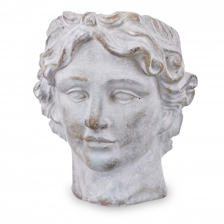 Ghiveci de piatra, forma cap barbat, 23x19 cm