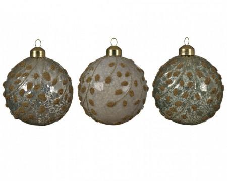 Glob de sticla, verde antic, model auriu, 8 cm