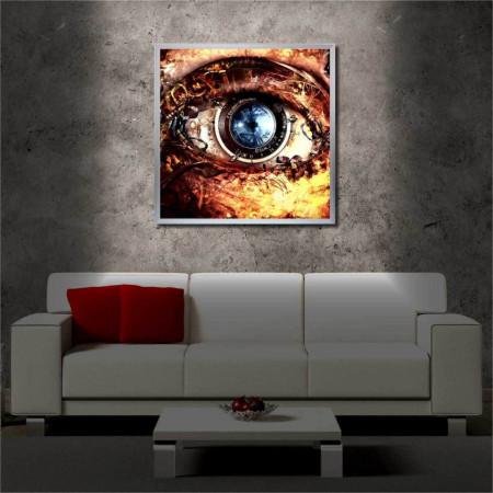Tablou iluminat LED cu rama metalica Cyborg Eye (60 x 60 cm)
