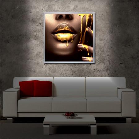 Tablou iluminat LED cu rama metalica Golden Leaks (60 x 60 cm)