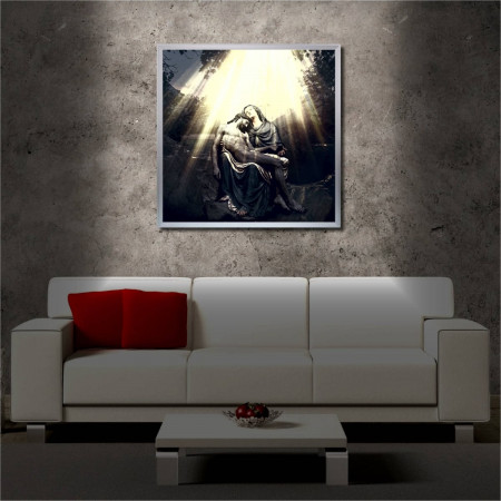 Tablou iluminat LED cu rama metalica Jesus and the Mother of the Lord (60 x 60 cm)