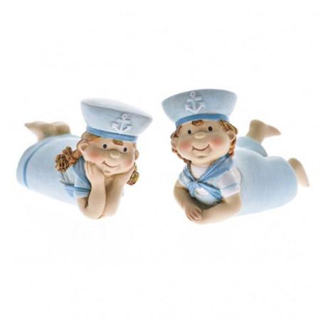 Figurina ceramica copil, model marin, sezut, 7.5 cm