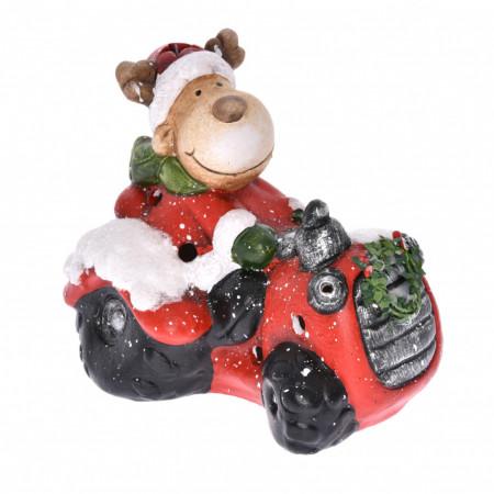 Figurina, ren pe tractor, LED, 19x12x16 cm