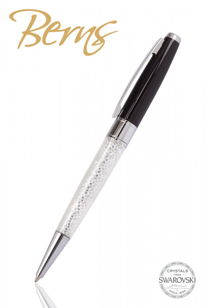 Pix Swarovski, alb/negru, diametru 10 mm