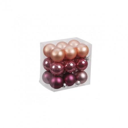 Set 18 globuri sticla, mix roz, 3 cm