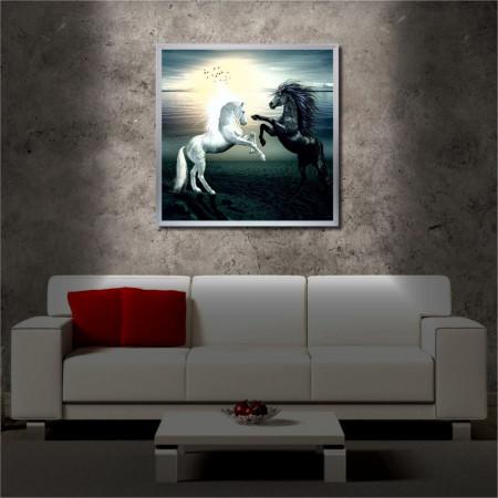 Tablou iluminat LED cu rama metalica Horses (60 x 60 cm)