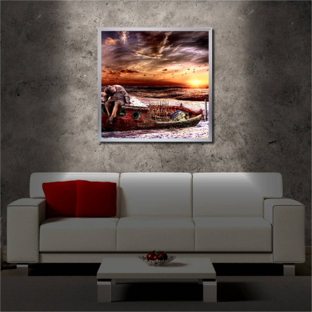 Tablou iluminat LED cu rama metalica Old Man on the Boat (60 x 60 cm)