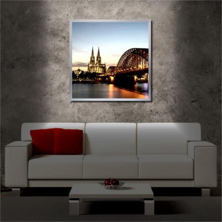 Tablou iluminat LED cu rama metalica The Bridge (60 x 60 cm)