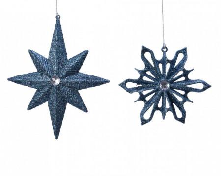Decoratiune de brad, albastru sclipici, 2 modele