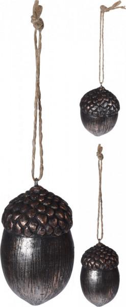 Ornament cu agatatoare, ghinda cupru, 7 cm