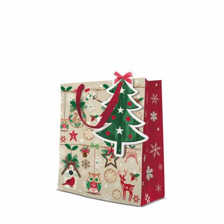 Punga de cadou, Rustic Christmas, 25x10x20 cm