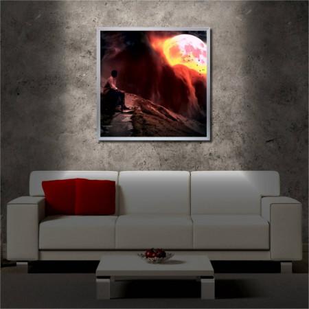 Tablou iluminat LED cu rama metalica Fire Planet (60 x 60 cm)