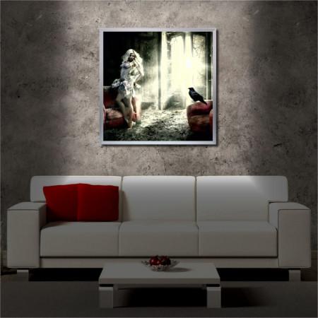 Tablou iluminat LED cu rama metalica Lady and the Crow (60 x 60 cm)