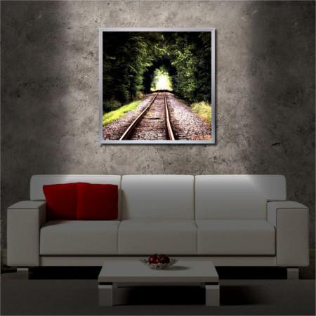 Tablou iluminat LED cu rama metalica Rail Tunnel (60 x 60 cm)