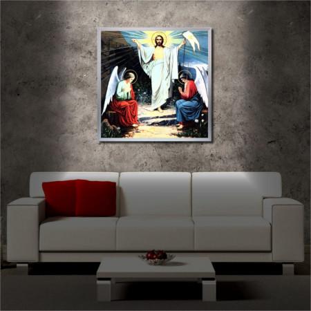 Tablou iluminat LED cu rama metalica Resurrection of Jesus (60 x 60 cm)
