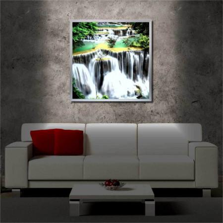 Tablou iluminat LED cu rama metalica Waterfall (60 x 60 cm)